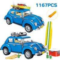 Designer Series City Car Bricks Compatible Technic Volkswagen Beetle Model Building Blocks Board Toys for Children