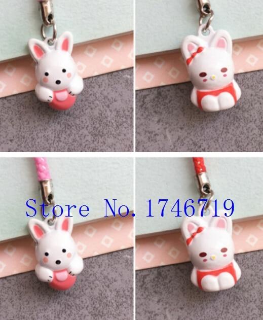 New 50 pcs Cute  rabbit  Claus key chains Cartoon Cell Phone Strap Bell Charm Gift
