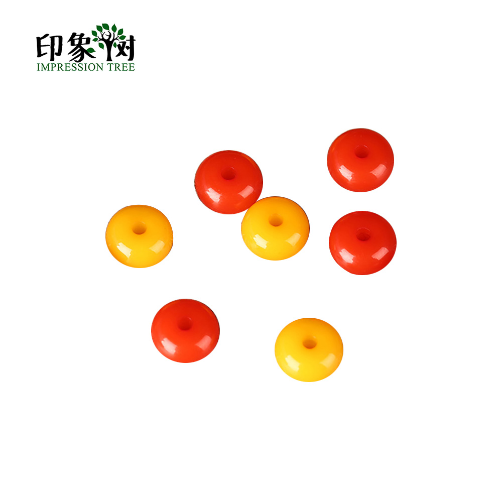 50pcs Resin Beeswax Saucer Spacer Beads Yellow Red Smooth 6X10mm Loose Beads Fit Necklace Making For DIY Jewelry Making 2608