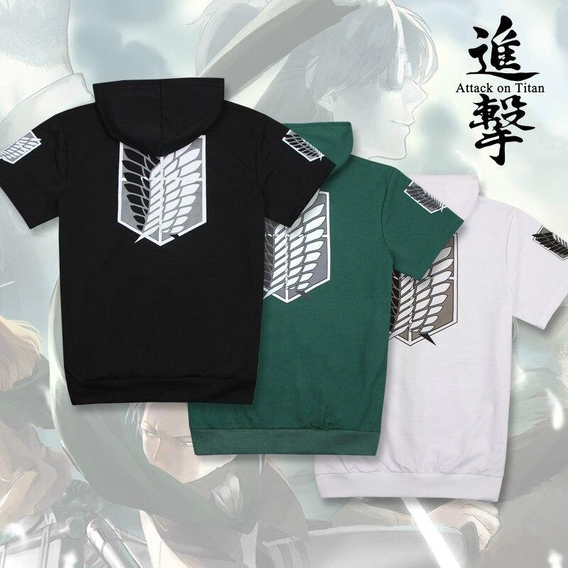 women menAnime Attack on Titan Cosplay Costume Shingeki no Kyojin Anime T-Shirt Tee Cotton  Anime T Shirt