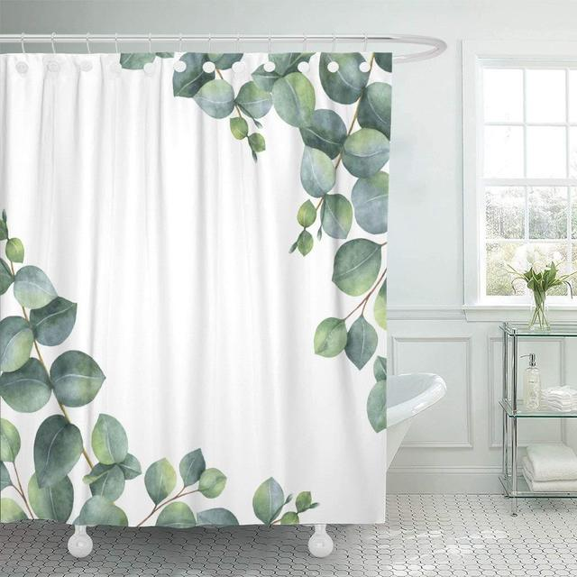 Fabric Shower Curtain With Hooks Watercolor Hand Green Floral Eucalyptus Leaves And Branches White Healing Herbs Decorative