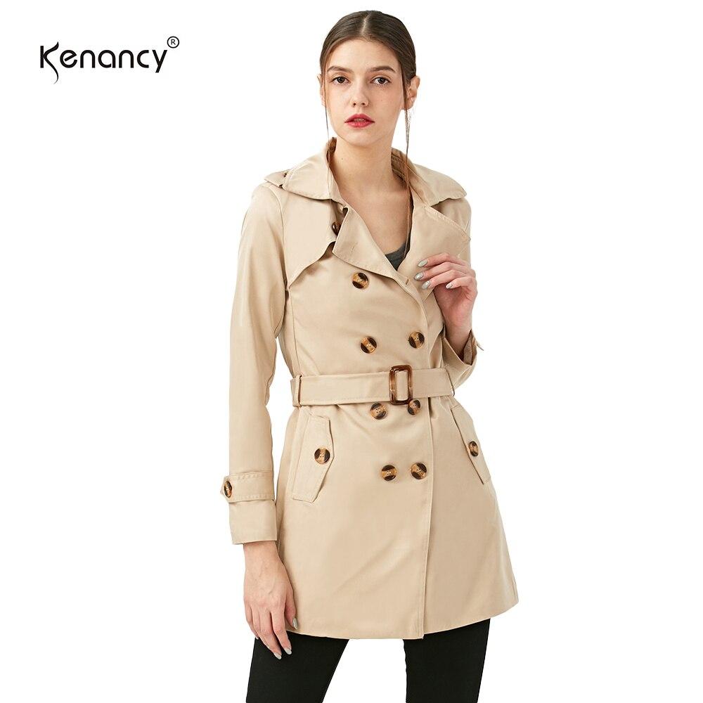 Kenancy Women Slim Overcoat Medium Long Trench Coat Sashes Belted Epaulet Double Breasted Windbreaker Turn-down Collar Outwear