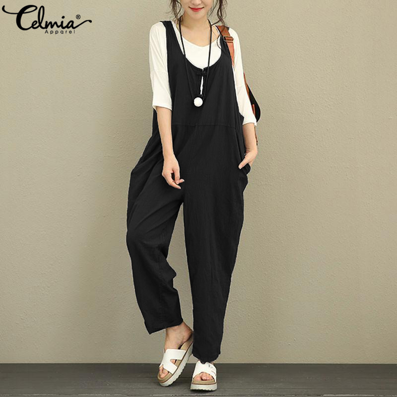 Celmia Women Linen   Jumpsuits   2019 Summer Backless Sleeveless Casual Loose Long Trousers Vintage Dungarees Plus Size Overalls 5XL