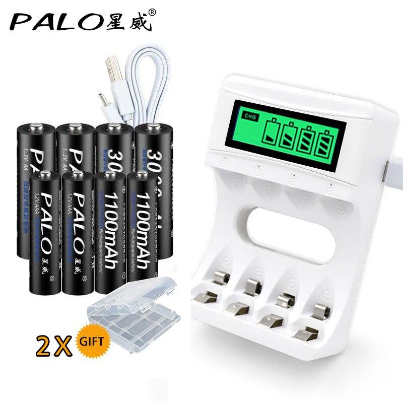 Display LCD inteligente Carregador de Bateria USB Para Ni-Mh AA AAA Ni-Cd Baterias Recarregáveis + 4 pcs Pilhas AA + 4 pcs Pilhas AAA