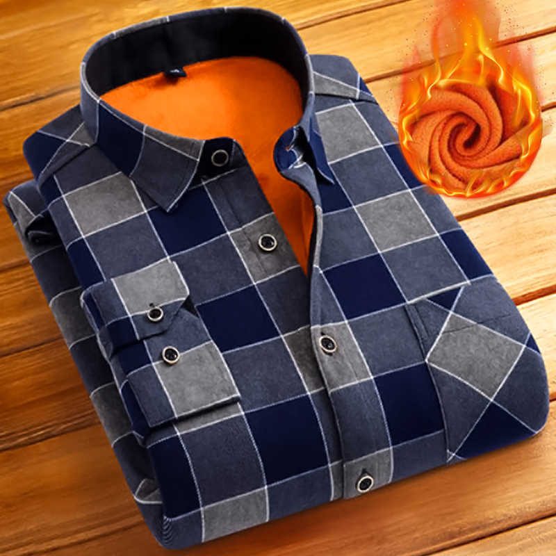 Mode Mannen Winter Warm Flanel Plaid Jurk Shirts Katoen Lange Mouw Mannen Werken Shirts Merk Casual Slim Fit Camisa Sociale shirts