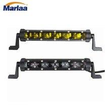 Marlaa 8 polegada 30w led única fileira mini 6d trabalho barra de luz ponto offroad condução lâmpada atv suv 4x4 4wd utv caminhão barco 12v 24v