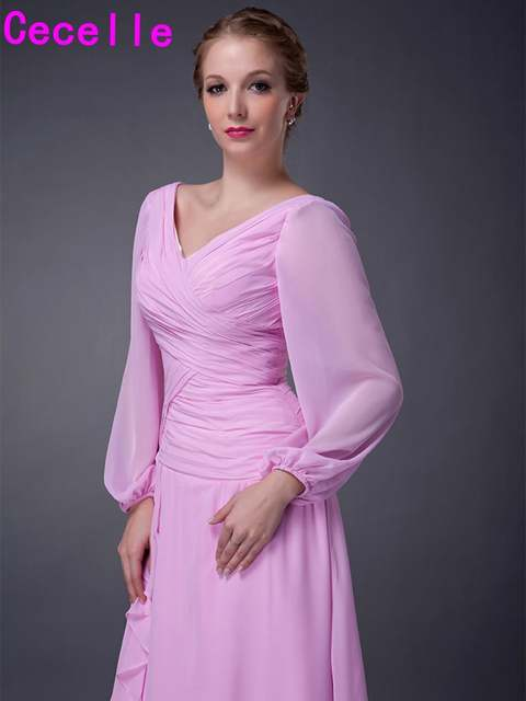 c9187196ec4d Pink Tea Length A-line Chiffon Long Sleeves Mother Of The Bride Dresses V  Neck