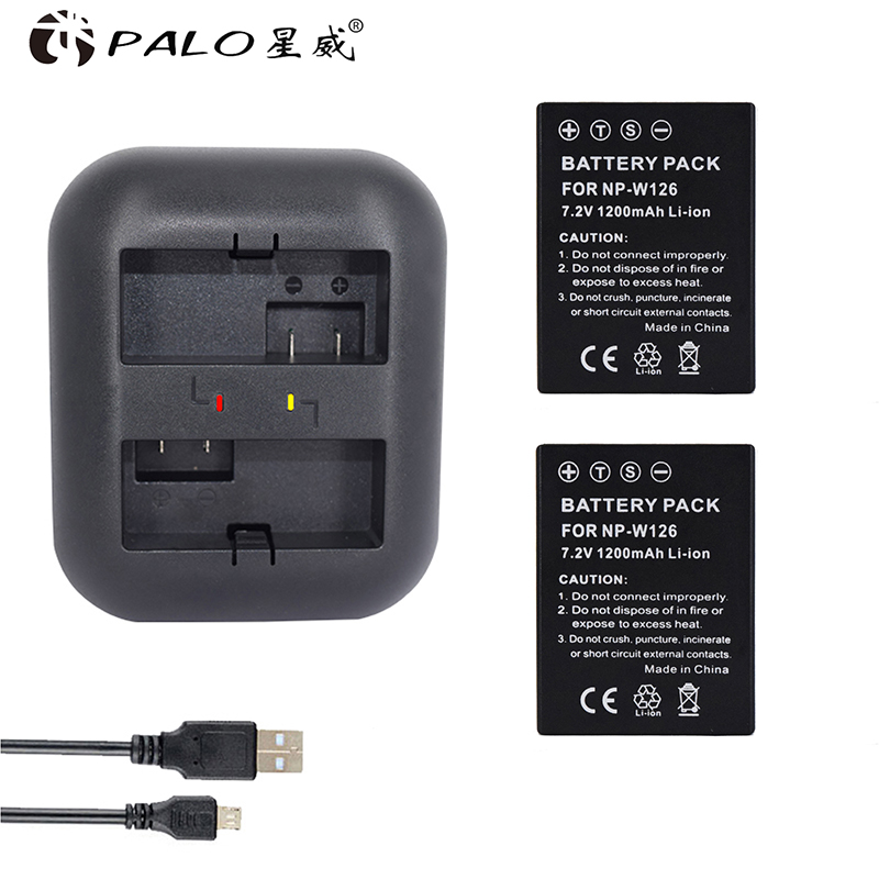 1200mAh 2x NP-W126 NP W126 NPW126 Batteries & Dual USB Charger for Fujifilm Fuji X-Pro1 XPro1 X-T1 XT1, HS30EXR HS33EXR X PRO1