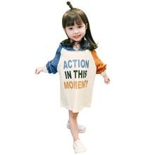 все цены на Autumn Fashion Baby Girl Cotton Kids Dress Cute Patchwork Long Sleeved Sweatshirt Dresses Kids Girls Princess Dress Clothes онлайн