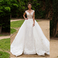 2017 Luxury Tulle Lace Appliques Wedding Dresses Sheer Neck Cap Sleeve A-Line Bride Dresses With Detachable Skirt Robe De Maria