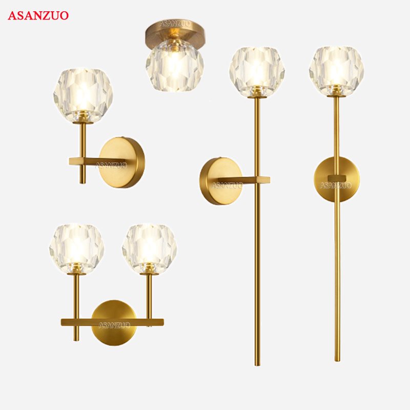 Modern indoor crystal lampshade Brass Wall lamps American minimalist Sconce bedroom corridor living room wall Light decoration