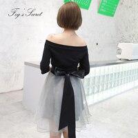 Large size balck Dress For Women Summer Plus Size Casual Sweet Formal Dress Slash neck dresses
