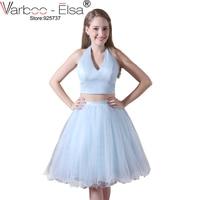 VARBOO ELSA 2017 Homecoming Dresses Sexy Hanging V Neck Light Blue Prom Dress 2 Piece Graduation