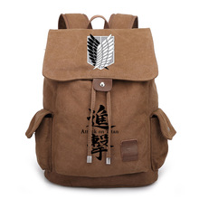 Japan Anime Attack on Titan Printed Backpack Travel Canvas Schoolbag for Teenagers Boy Girls Anime Daily Bags 020601