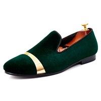 Harpelunde Handmade Men Wedding Shoes Gold Plate Flat Shoes Green Velvet Loafers Size 7 14