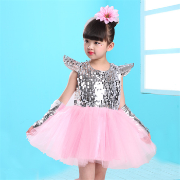 14Color Girls Jazz Dance Kids Dress Sequin Short Sleeve Princess Tutu Mesh Stage Performance Clothing Dj Hiphop Dancing Outfit 5