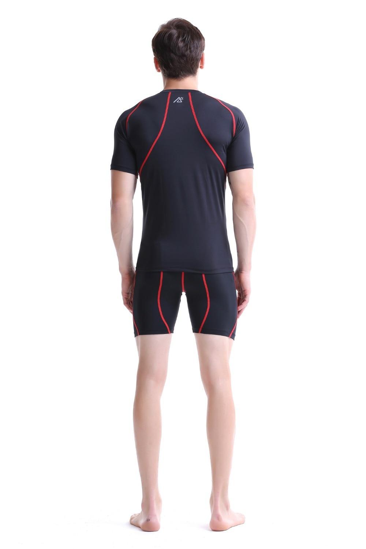 Leben auf der spur Compression Baselayer T shirt Männer Lange/Kurzarm Fitness Set Gymnastik Laufhose/Leggings Plus Größe - 5