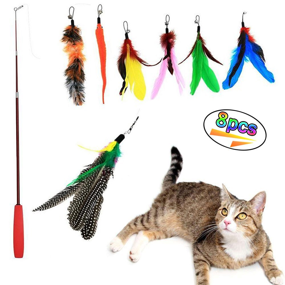 8pcs retractable cat toys interactive cat toy teaser wand for Retractable cat wand