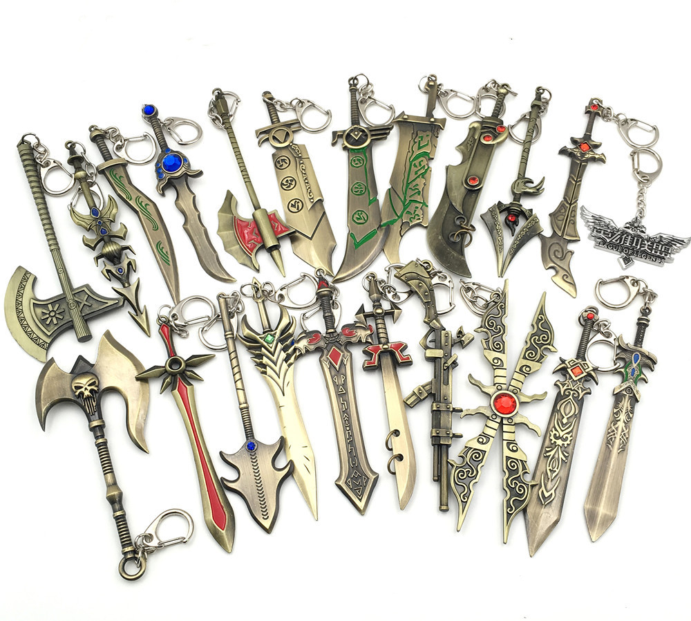 League Of Legends Diana Key Chain LOL Aatrox Xin Zhao Darius Master Yi Knife Gun Weapon Model Pendant Key Chaing Jewelry Gift