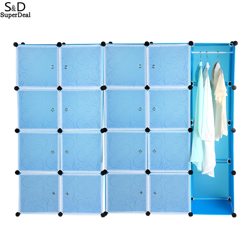 Folding Combination Wardrobe Portable PP Material Closet Storage Organizer Wardrobe Clothes Rack With 20 Shelves Blue