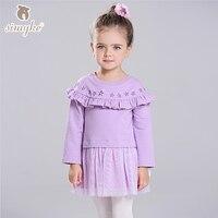 Simyke Girls Sweatshirt Dresses With Long Sleeve 2017 New Children's Tutu Dress Toddler Girls Clothing Kids Clothes W8252