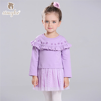 Simyke Girls Sweatshirt Dresses With Long Sleeve 2017 New Children S Tutu Dress Toddler Girls Clothing