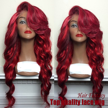 2015 New fashion synthetic body wave red wig synthetic lace front wig high quality women brazilian