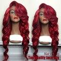 2015 nova moda onda corpo sintético red peruca sintética peruca de alta qualidade mulheres onda do corpo brasileiro peruca dianteira do laço