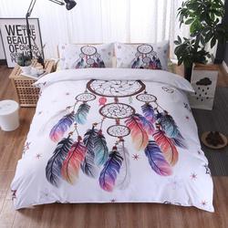3 sztuk biały Dreamcatcher zestawy pościeli kołdra pokrywa zestaw czeski drukuj pościel król kolorowe pióra kołdra pokrywa w Kołdra od Dom i ogród na
