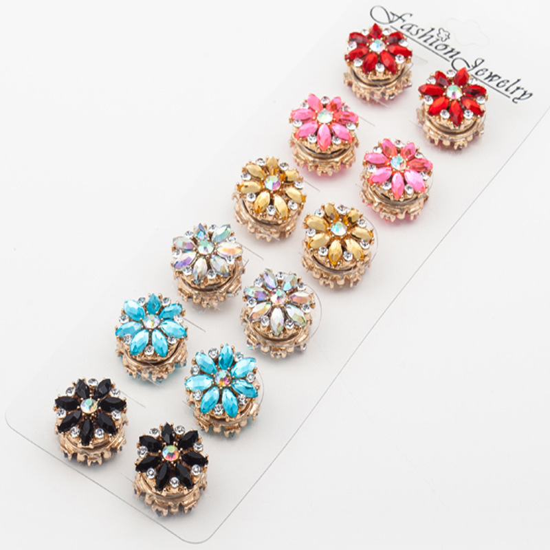 12pcs/lot flower rhinestone women brooches magnet hijab pins clasp muslim hijab accessories good quality