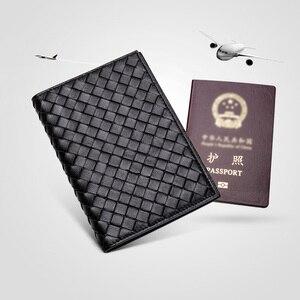 Image 2 - גברים באיכות גבוהה עור כבש אמיתי עור מזהה כרטיס דרכון כיסוי ארנק ארוג רב פונקצית כרטיס מחזיק עסקי נסיעות ארנק