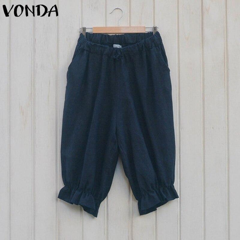 Women Cotton Harem Pants Capris 2019 Summer Vintage Casual Loose Elastic Waist Pockets Solid Trousers Plus Size Bottoms