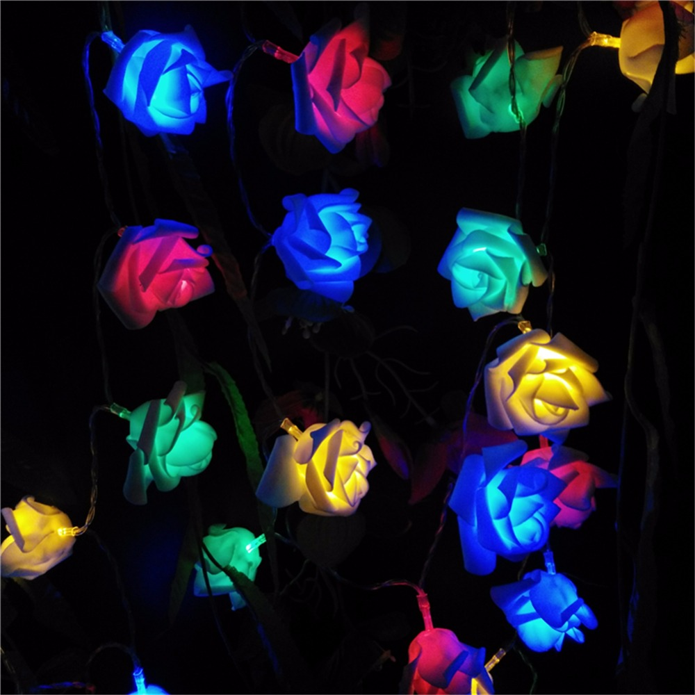 YIYANG 2M Decoración de la boda Rose Flower LED Bouquet String Lights Batería Rosa Christmas Festival Party Garden Bedroom Lumiere