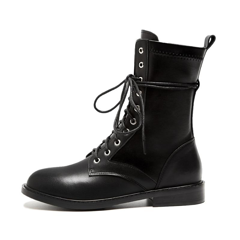 Cr1755 Encaje 39 Mujeres Banda Vaca Bolso Otoño Botas Estrecha A Zapatos Tamaño Black Mujer Básicas Cuero Invierno Tobillo 34 Enmayer E De UqwRYw