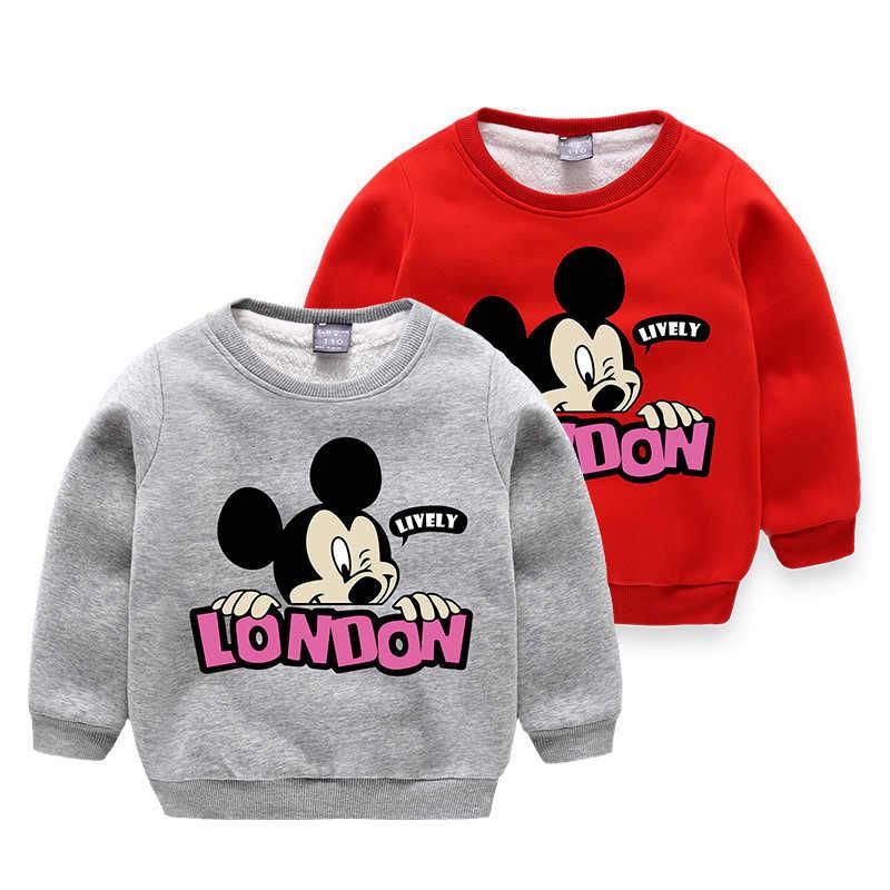 50e8e0f46 Boys Girls Mickey Mouse Sweatshirts 2019 Winter Thicken Children Hoodies  Baby Girls Print Sweater Kids Cartoon