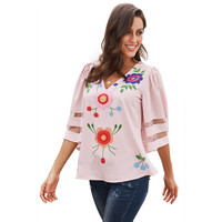Sexy V Neck Hollow Out Floral Chiffon Blouse for Women Kawaii Ladies Summer Bell Sleeve Pink Chiffon Top Blouses Plus Size