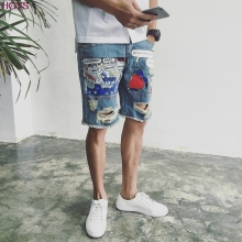 Summer 2017 collection Hole bull-puncher knickers men wash cartoon printing tide 5 minutes of pants