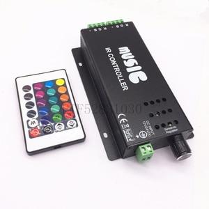 2017 best price DC12-24V 24 Keys music controller IR remote RGB controller Sound Sensitive for 5050 3528 led strip light lamp