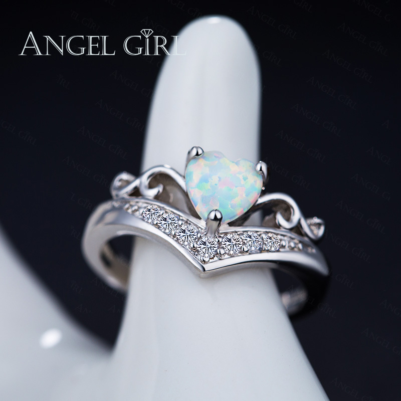 ANGEL GIRL Heart Shaped Fire Opal Engagement Ring Silver Color Jewelry Queen Crown Style Fashion Rings for Women 2017 R0078-WW
