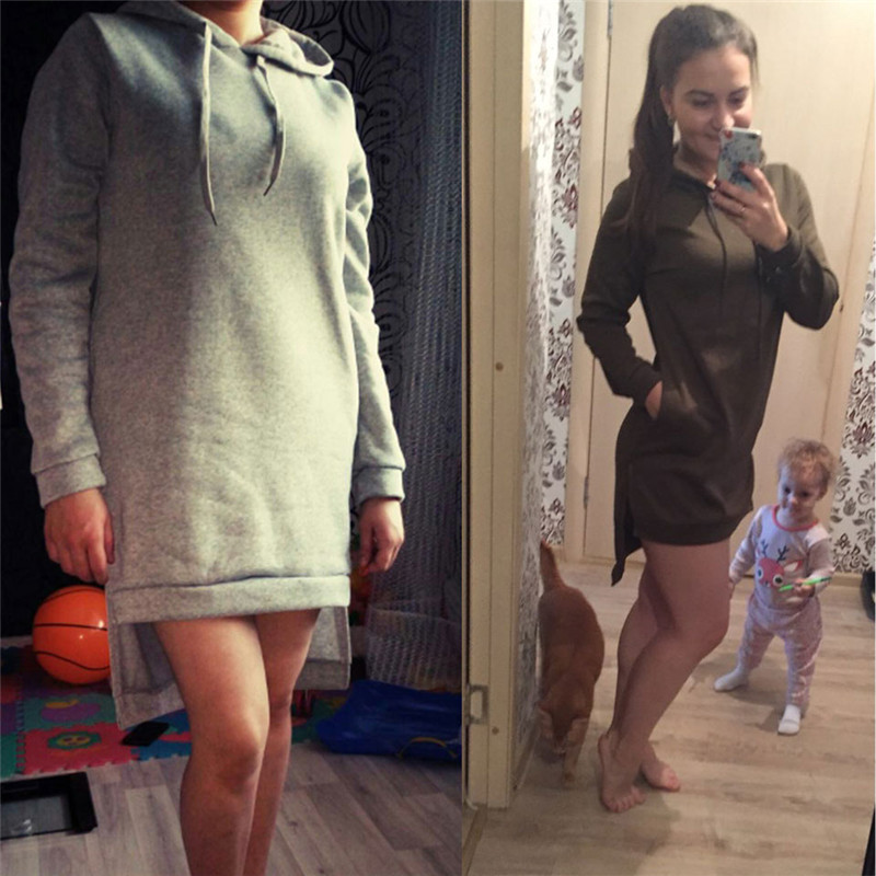 HTB1r234kGAoBKNjSZSyq6yHAVXa6 Women Slim Hoodie Dress 2019 Autumn Winter Long Sleeve Casual Dress Hooded Pockets Sportwear Female Fashion Women Clothing