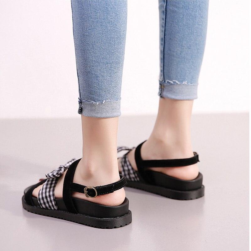 Femmes À Gladiateur Mot Sandales Chaussures Diapositives Plat Bowknot Grande Bout Jouets Taille E Été forme Noir 2018 De Plate Ouvert 1qPRX