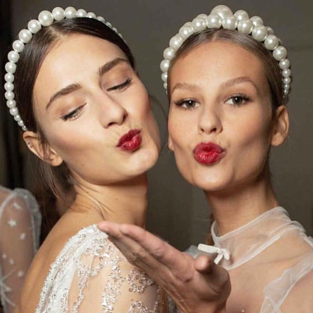 Flatfoosie 2019 mode perle bandeaux pour femmes élégant large bandeaux de mariage mariée cheveux accessoires partie cheveux cerceau
