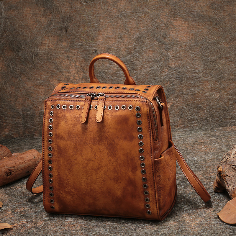Women Square Handbags Retro Shoulder Bag Lady Genuine Leather Back Pack Bag 2018 Handmade Cowhide Messenger Crossbody Bags
