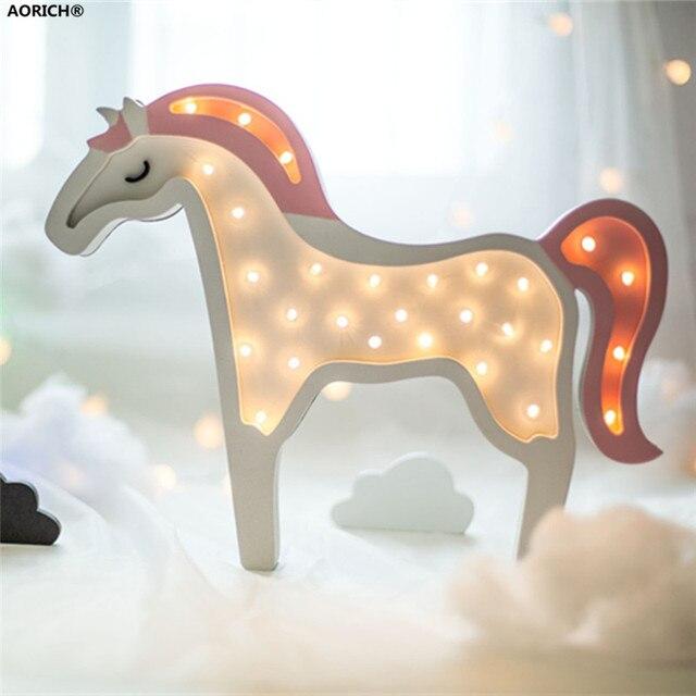 2pcs Cute Novelty Night Light Children Bedroom Nursery Wooden Unicorn Led Lamp Kids Room Wall