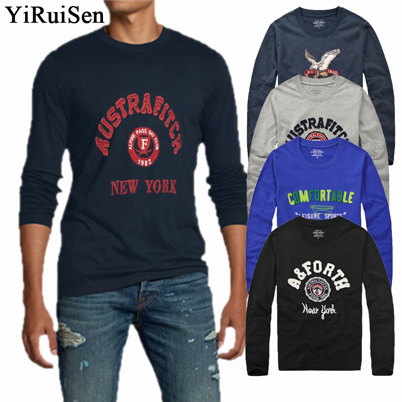 Wholesale 23 Style YiRuiSen Brand Patchwork And Embroidery Lether Design Long Sleeve   T     Shirt   Men Cotton Casual Autumn Clothing