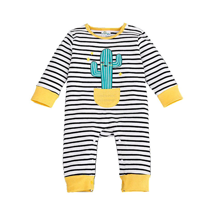 Striped Baby Romper Autumn Long Sleeve Infant Babies Clothes For Baby Boys Girls Next Body New Born Cactus Cute Baby Costumes puseky 2017 infant romper baby boys girls jumpsuit newborn bebe clothing hooded toddler baby clothes cute panda romper costumes