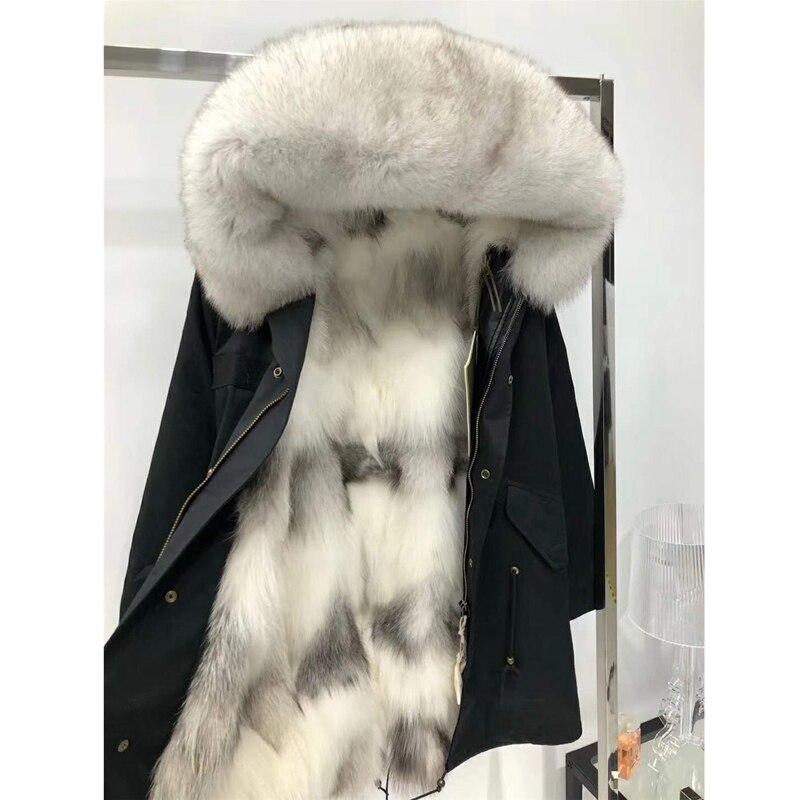 Mode Réel de fourrure de Fox Doublure Hiver Veste Manteau Naturel Renard Col De Fourrure À Capuchon Chaud Épais Long Parkas Outwear WT081