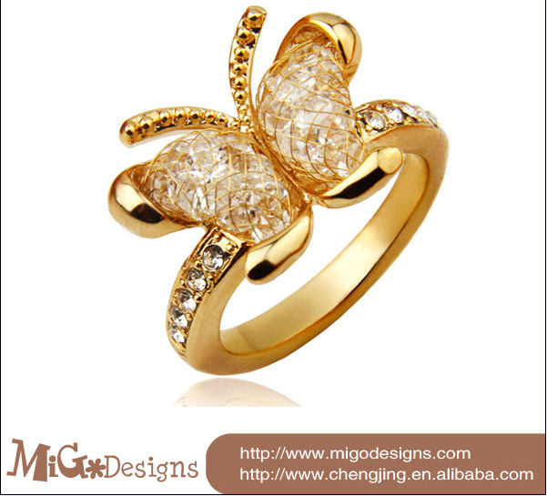 Unique Wedding Bands Gold Plated Butterfly Ring Perfectly