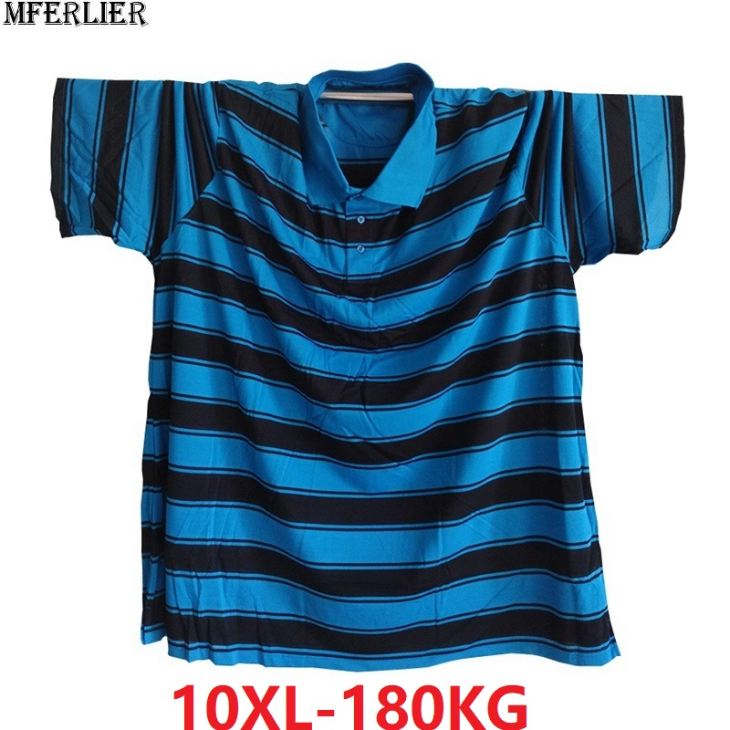 Men England Striped Polo Shirts Short Sleeve Turn-down Colla Tees Plus Size 7XL 8XL 9XL 10XL Tees Oversize 58 60 62 64 66 Blue
