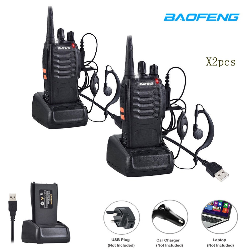 Hot 2 pçs/lote BF-888S BaoFeng Walkie talkie UHF rádio em Dois sentidos baofeng 888 s UHF 400-470 mhz 16CH transceptor portátil com Fone de Ouvido